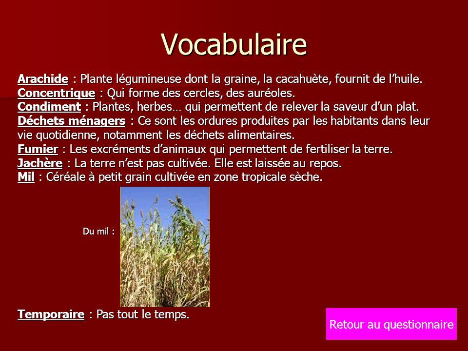 Vocabulaire Arachide : Plante légumineuse dont la graine, la cacahuète, fournit de lhuile. Concentrique : Qui forme des cercles, des auréoles. Condime