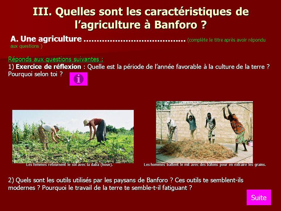 III. Quelles sont les caractéristiques de lagriculture à Banforo ? Réponds aux questions suivantes : 1) Exercice de réflexion : Quelle est la période