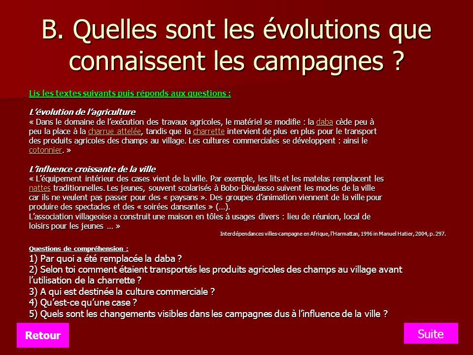 B. Quelles sont les évolutions que connaissent les campagnes ? Lis les textes suivants puis réponds aux questions : Lévolution de lagriculture « Dans