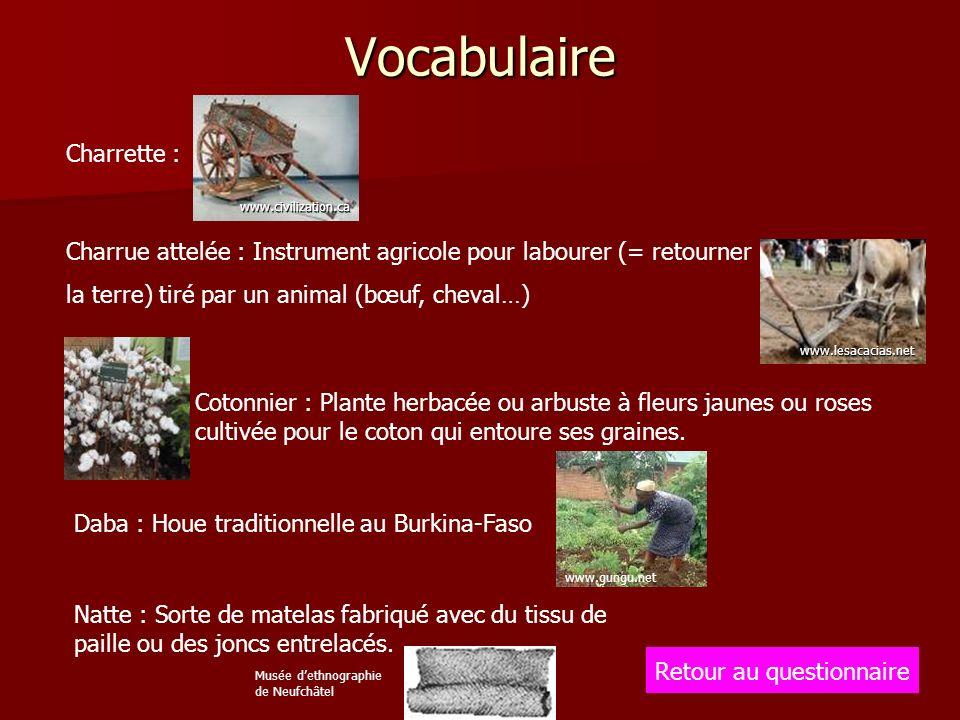 Vocabulaire Retour au questionnaire Charrette : www.civilization.ca Charrue attelée : Instrument agricole pour labourer (= retourner la terre) tiré pa