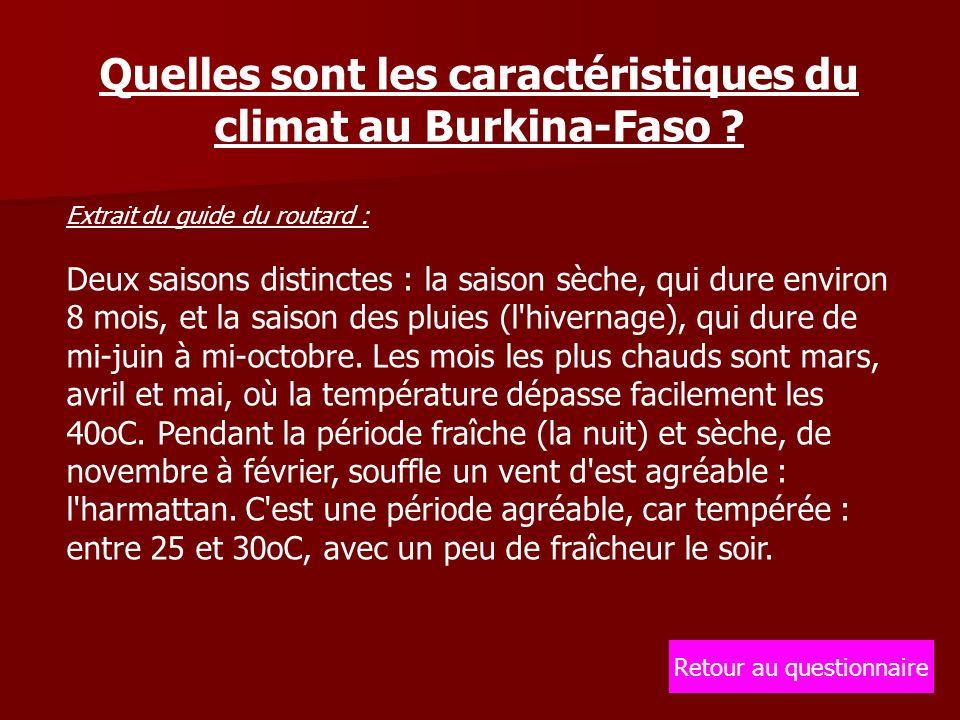 Quelles sont les caractéristiques du climat au Burkina-Faso .
