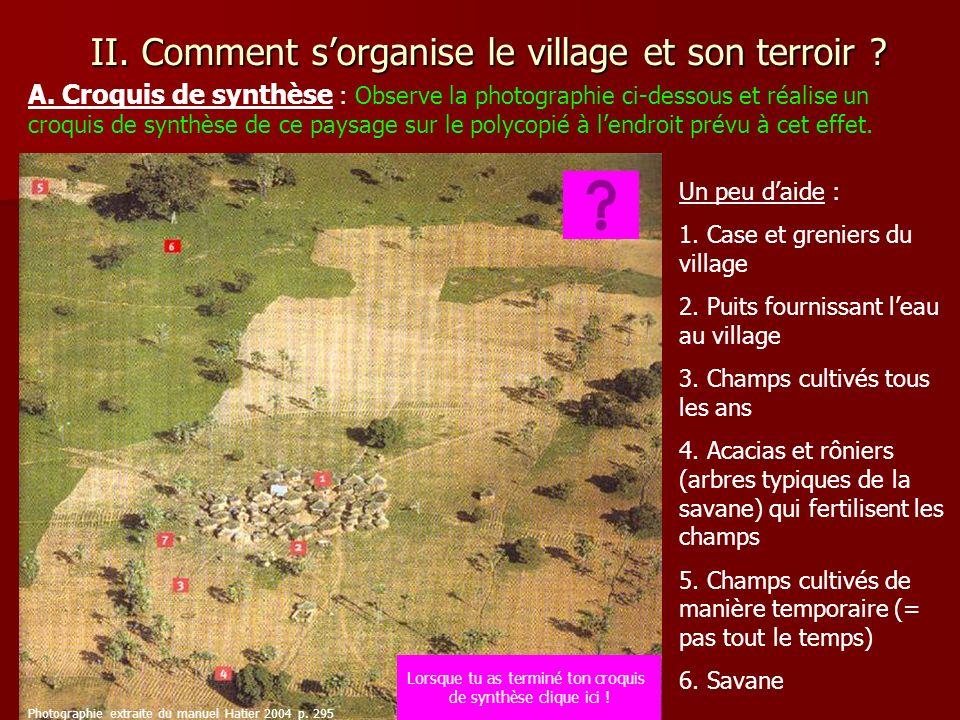 II. Comment sorganise le village et son terroir ? A. Croquis de synthèse : Observe la photographie ci-dessous et réalise un croquis de synthèse de ce