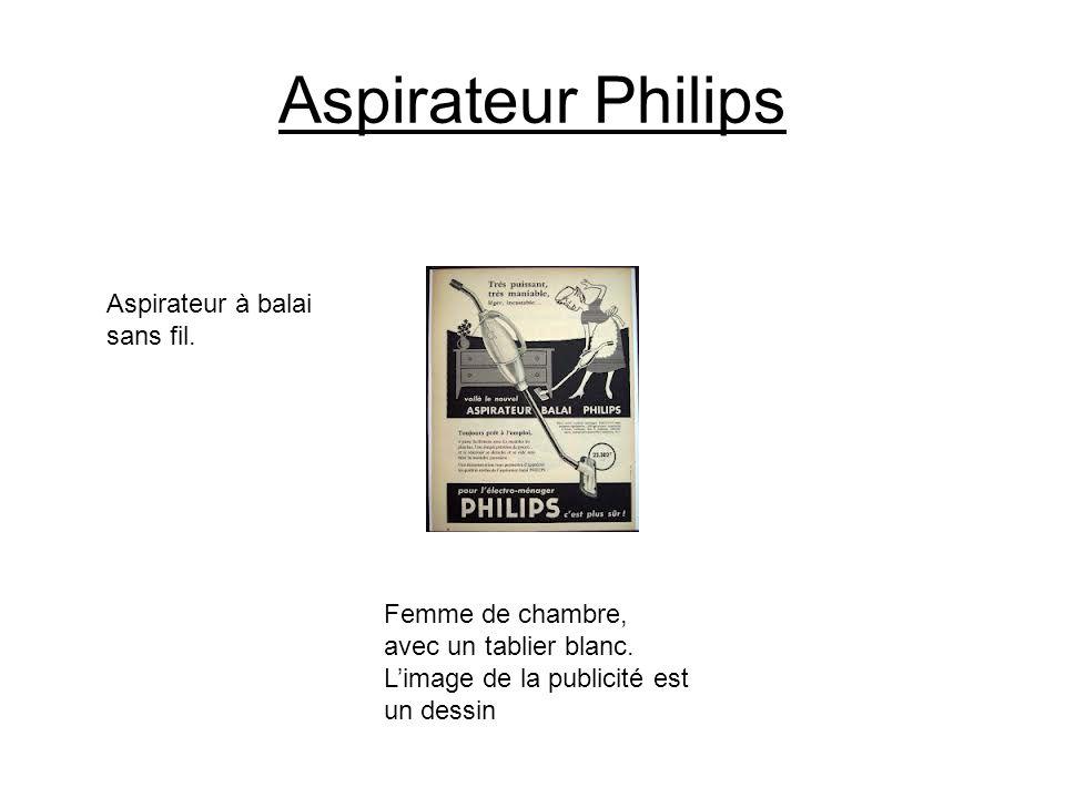 Aspirateur Philips Aspirateur à balai sans fil. Femme de chambre, avec un tablier blanc. Limage de la publicité est un dessin