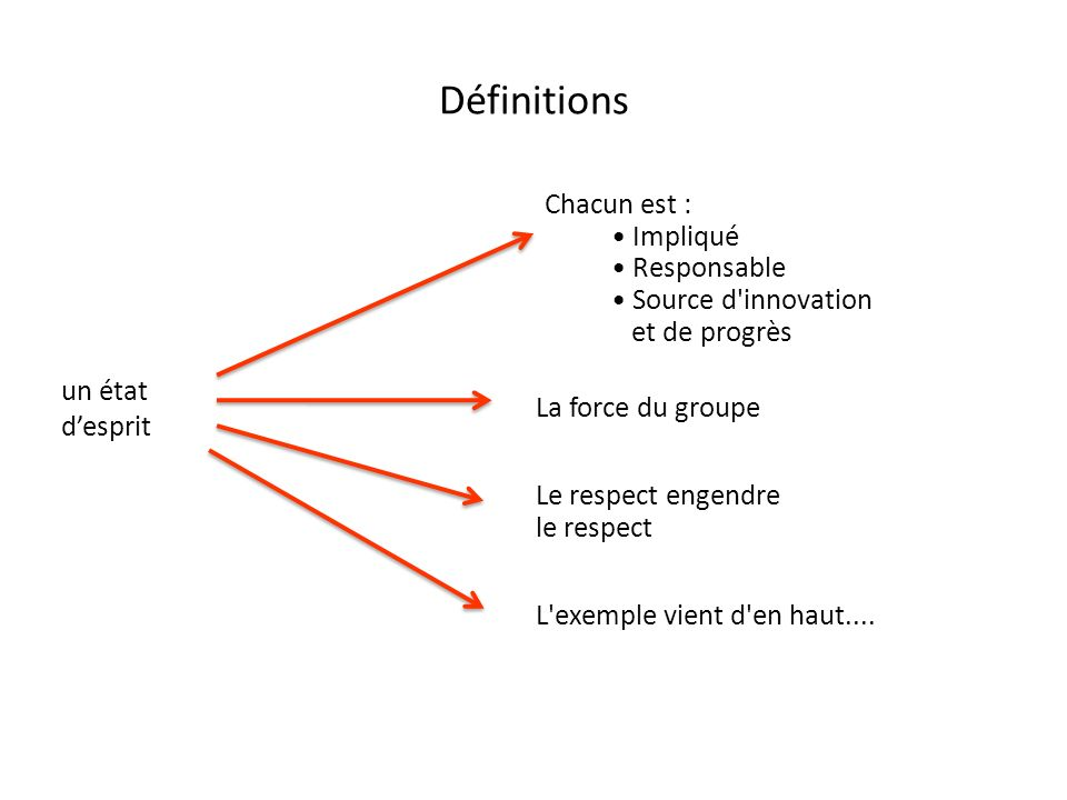 Définitions Chacun est : Impliqué Responsable Source d'innovation et de progrès un état desprit La force du groupe Le respect engendre le respect L'ex