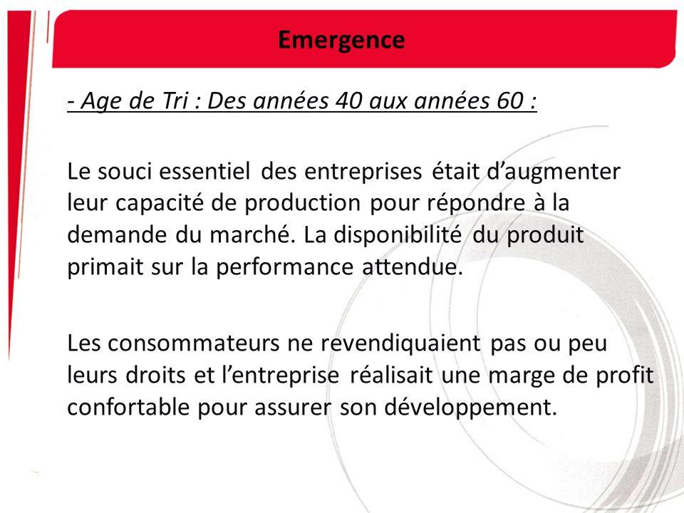 Emergence - Age de Tri : Des années 40 aux années 60 : Le souci essentiel des entreprises était daugmenter leur capacité de production pour répondre à