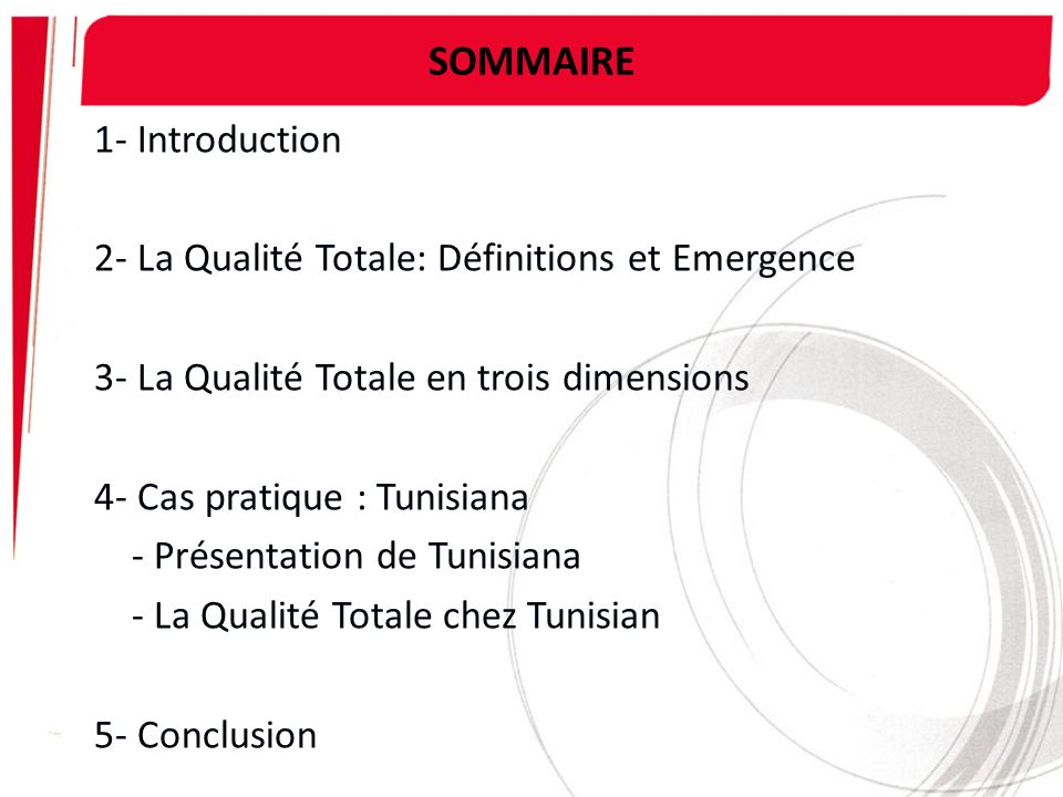 SOMMAIRE 1- Introduction 2- La Qualité Totale: Définitions et Emergence 3- La Qualité Totale en trois dimensions 4- Cas pratique : Tunisiana - Présent