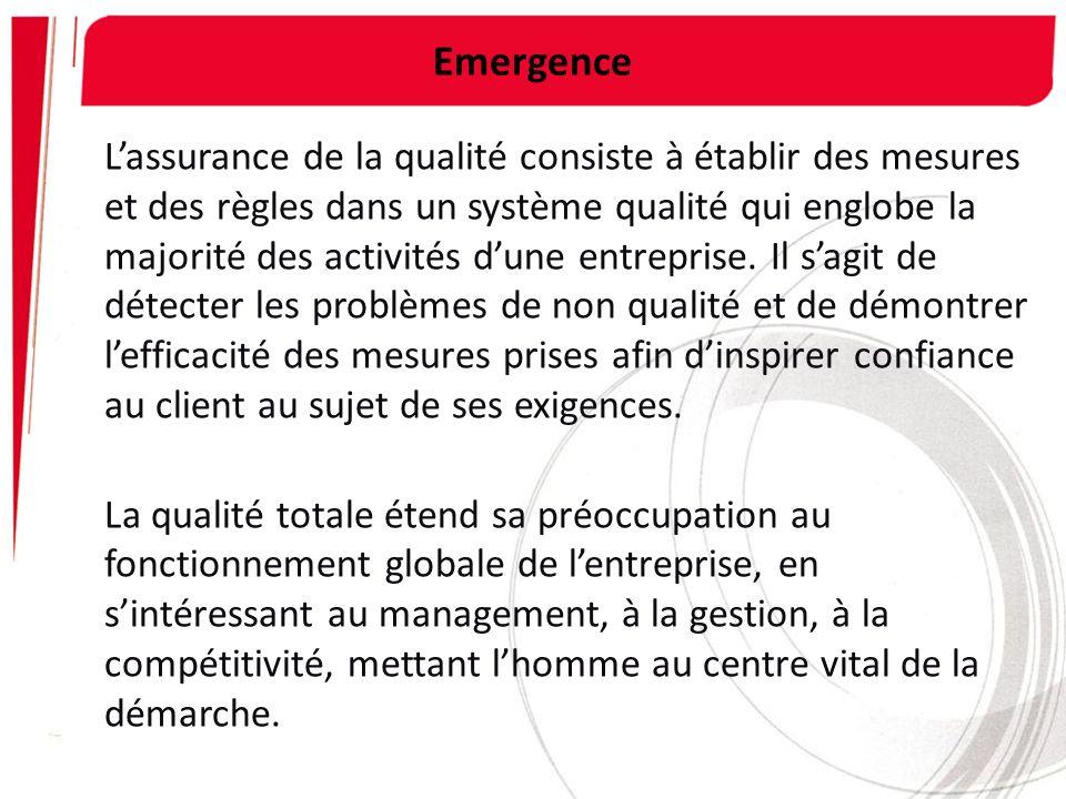 Emergence Lassurance de la qualité consiste à établir des mesures et des règles dans un système qualité qui englobe la majorité des activités dune ent