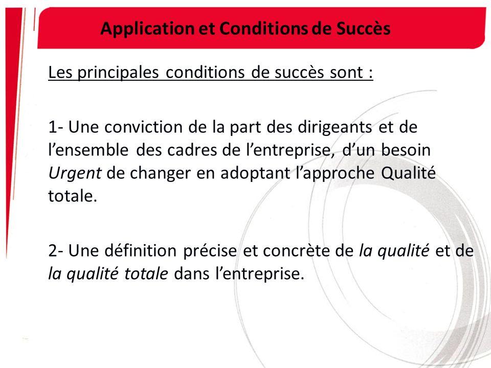 Application et Conditions de Succès Les principales conditions de succès sont : 1- Une conviction de la part des dirigeants et de lensemble des cadres