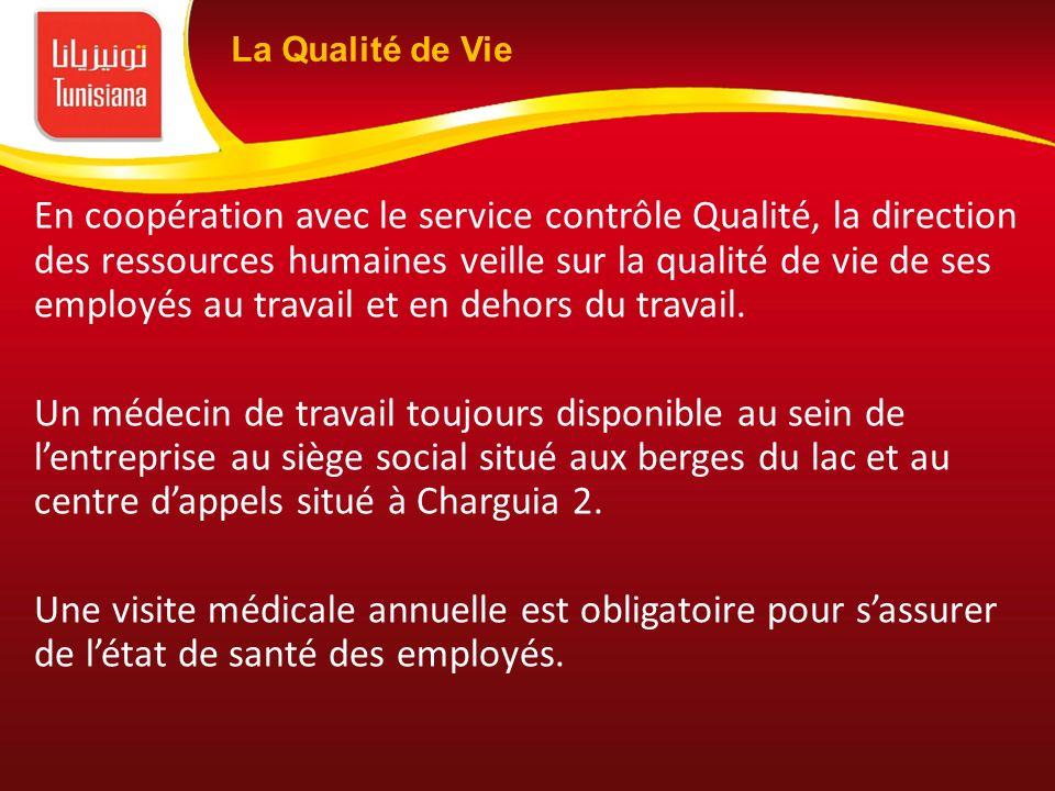 En coopération avec le service contrôle Qualité, la direction des ressources humaines veille sur la qualité de vie de ses employés au travail et en de