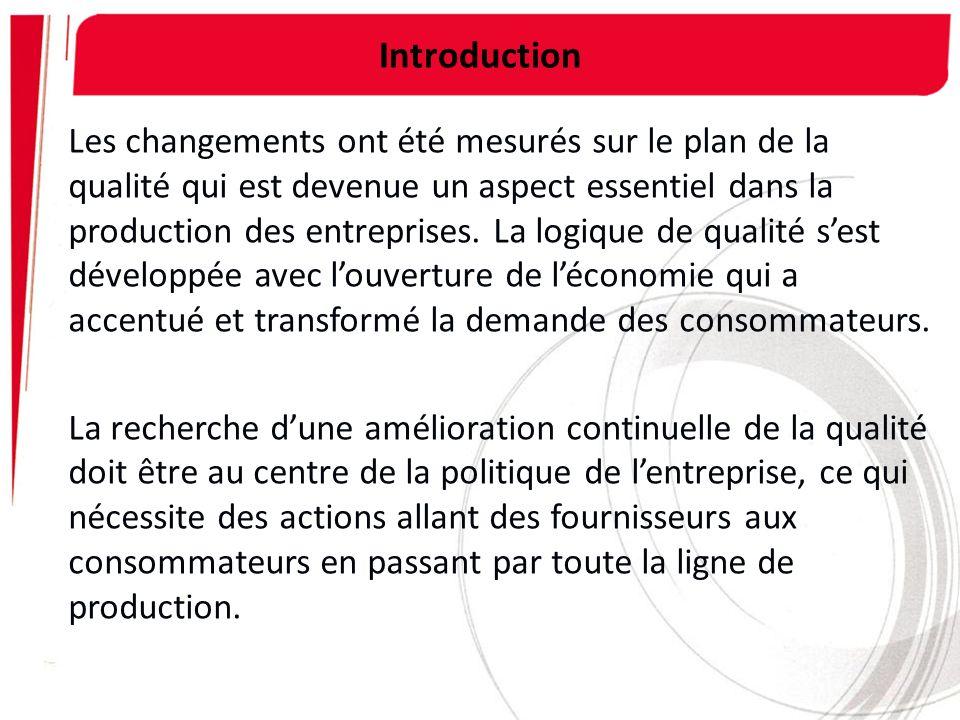 Introduction Les changements ont été mesurés sur le plan de la qualité qui est devenue un aspect essentiel dans la production des entreprises. La logi