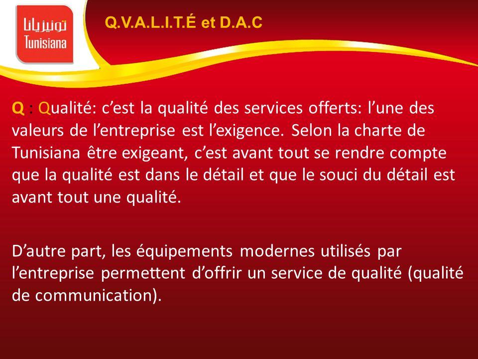 Q : Qualité: cest la qualité des services offerts: lune des valeurs de lentreprise est lexigence. Selon la charte de Tunisiana être exigeant, cest ava