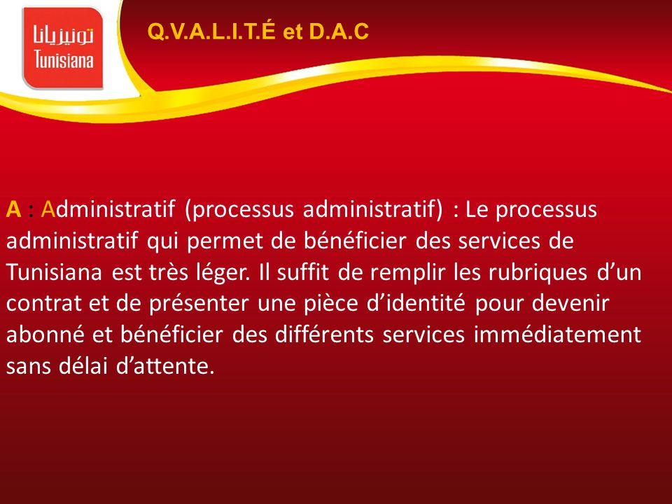 A : Administratif (processus administratif) : Le processus administratif qui permet de bénéficier des services de Tunisiana est très léger. Il suffit