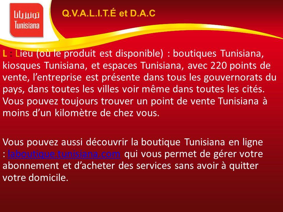 L : Lieu (où le produit est disponible) : boutiques Tunisiana, kiosques Tunisiana, et espaces Tunisiana, avec 220 points de vente, lentreprise est pré