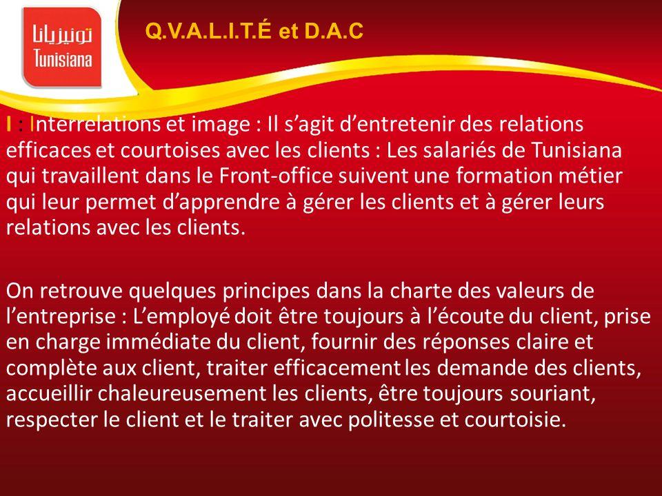 I : Interrelations et image : Il sagit dentretenir des relations efficaces et courtoises avec les clients : Les salariés de Tunisiana qui travaillent
