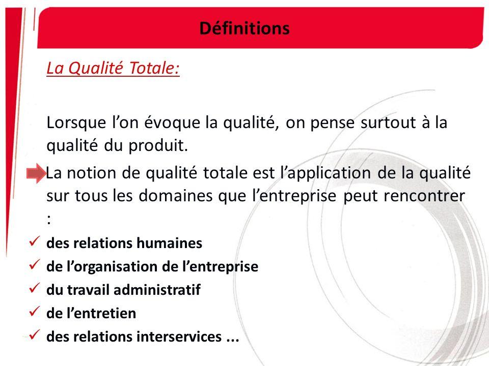 Définitions La Qualité Totale: Lorsque lon évoque la qualité, on pense surtout à la qualité du produit. La notion de qualité totale est lapplication d