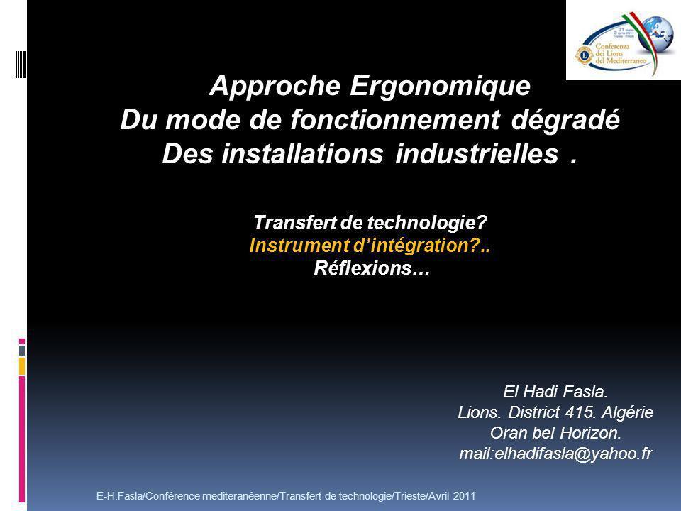 Approche Ergonomique Du mode de fonctionnement dégradé Des installations industrielles.