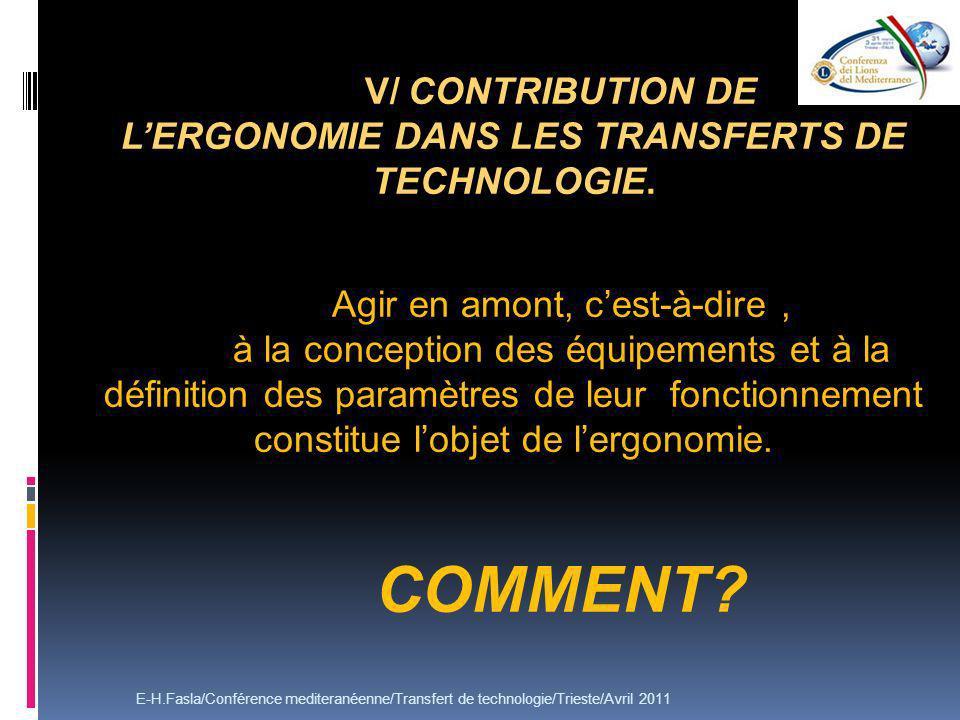 V/ CONTRIBUTION DE LERGONOMIE DANS LES TRANSFERTS DE TECHNOLOGIE. Agir en amont, cest-à-dire, à la conception des équipements et à la définition des p