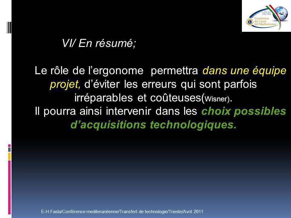 E-H.Fasla/Conférence mediteranéenne/Transfert de technologie/Trieste/Avril 2011 VI/ En résumé; Le rôle de lergonome permettra dans une équipe projet, déviter les erreurs qui sont parfois irréparables et coûteuses( Wisner).