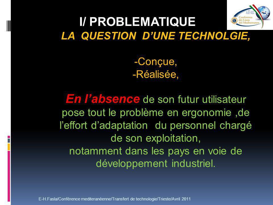 LA QUESTION DUNE TECHNOLGIE, -Conçue, -Réalisée, En labsence de son futur utilisateur pose tout le problème en ergonomie,de leffort dadaptation du personnel chargé de son exploitation, notamment dans les pays en voie de développement industriel.