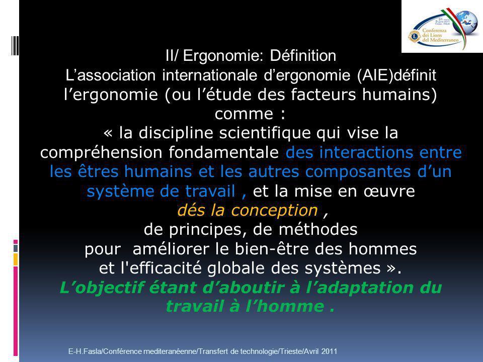 II/ Ergonomie: Définition Lassociation internationale dergonomie (AIE)définit lergonomie (ou létude des facteurs humains) comme : « la discipline scie