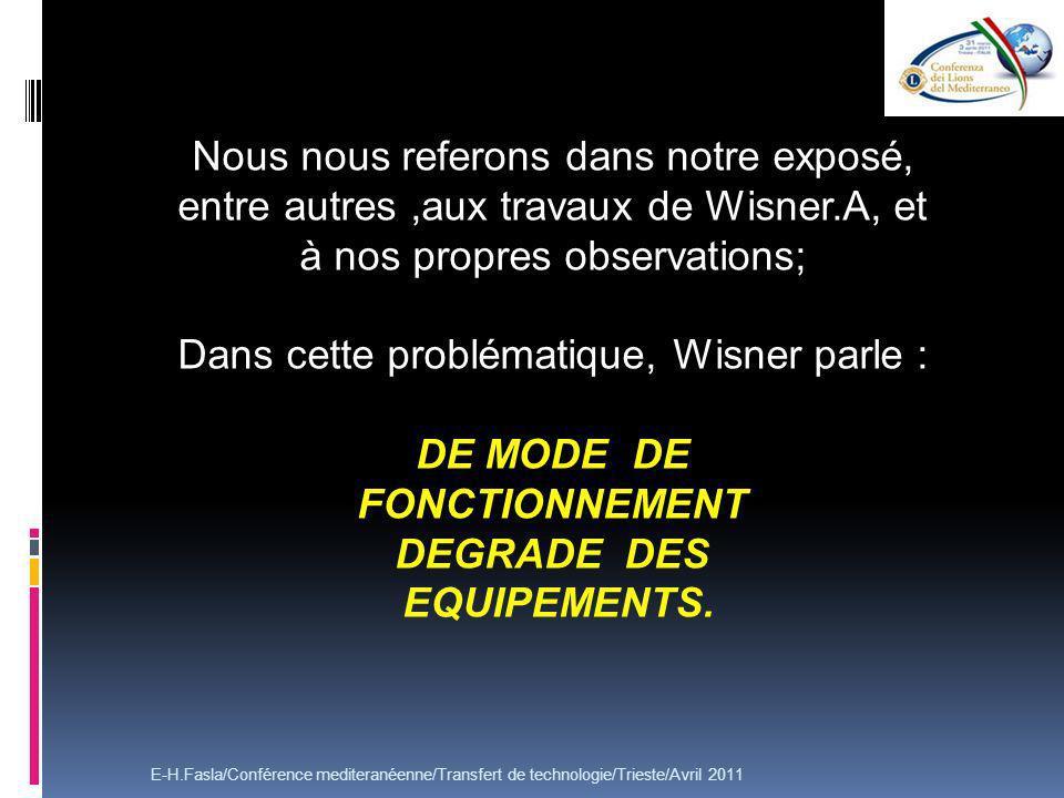 Nous nous referons dans notre exposé, entre autres,aux travaux de Wisner.A, et à nos propres observations; Dans cette problématique, Wisner parle : DE MODE DE FONCTIONNEMENT DEGRADE DES EQUIPEMENTS.