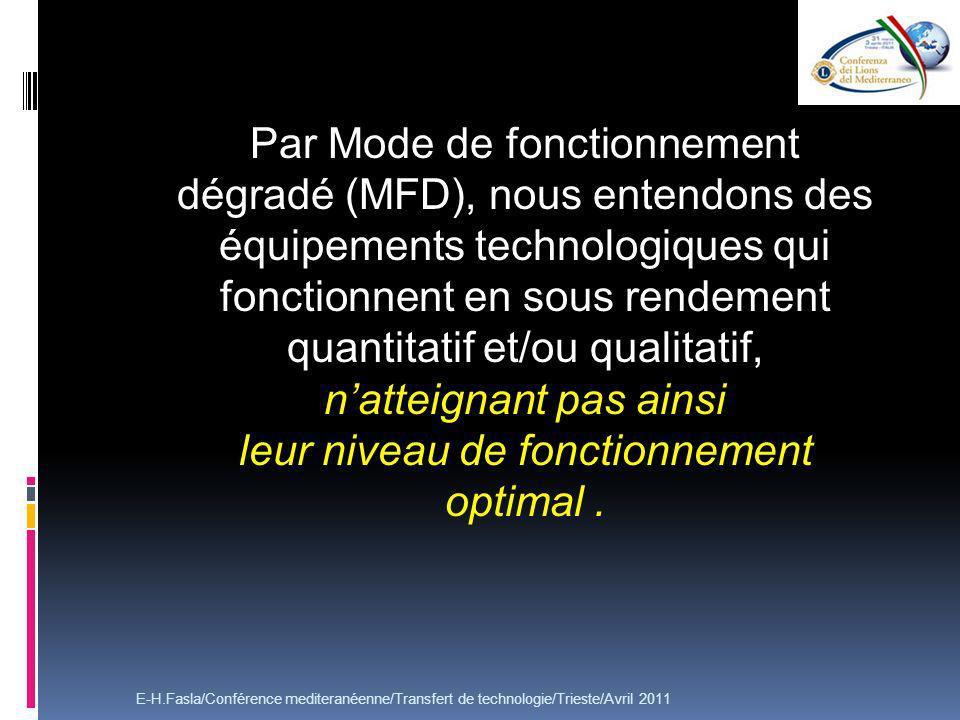 Par Mode de fonctionnement dégradé (MFD), nous entendons des équipements technologiques qui fonctionnent en sous rendement quantitatif et/ou qualitatif, natteignant pas ainsi leur niveau de fonctionnement optimal.