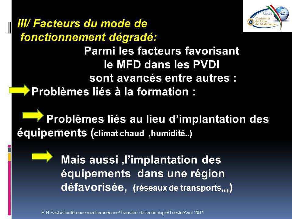 III/ Facteurs du mode de fonctionnement dégradé: Parmi les facteurs favorisant le MFD dans les PVDI sont avancés entre autres : Problèmes liés à la fo
