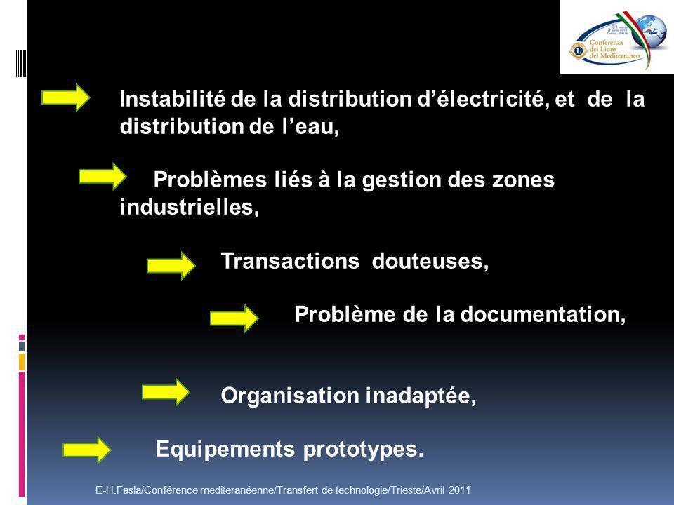Instabilité de la distribution délectricité, et de la distribution de leau, Problèmes liés à la gestion des zones industrielles,, Transactions douteuses, Problème de la documentation, Organisation inadaptée, - Equipements prototypes.