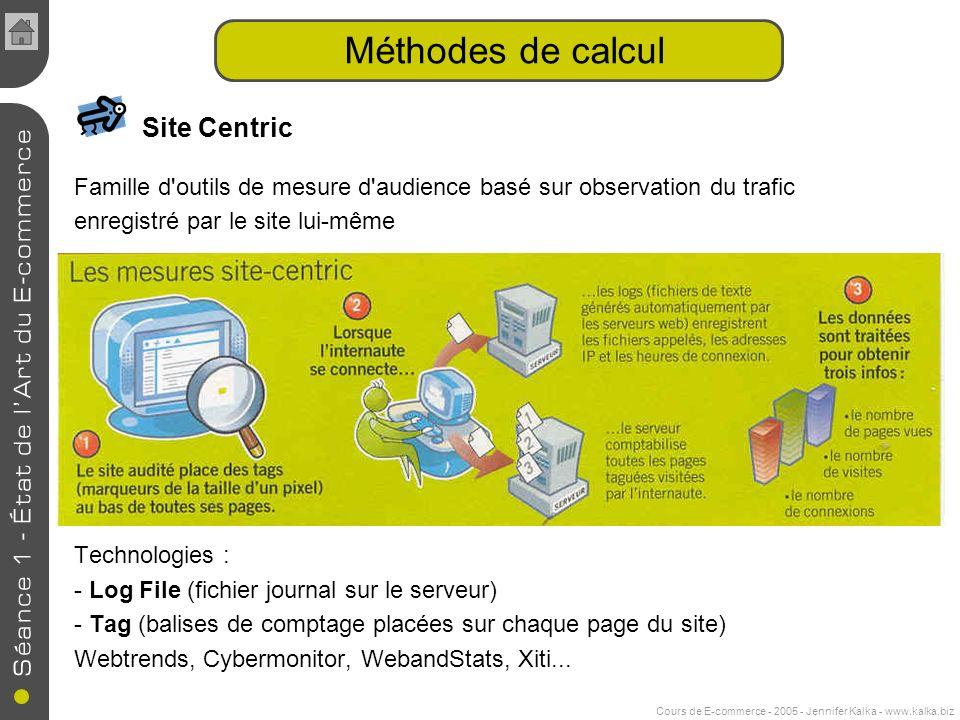 Cours de E-commerce - 2005 - Jennifer Kalka - www.kalka.biz Méthodes de calcul Site Centric Famille d outils de mesure d audience basé sur observation du trafic enregistré par le site lui-même Technologies : - Log File (fichier journal sur le serveur) - Tag (balises de comptage placées sur chaque page du site) Webtrends, Cybermonitor, WebandStats, Xiti...