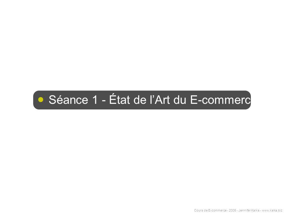 Cours de E-commerce - 2005 - Jennifer Kalka - www.kalka.biz Séance 1 - État de lArt du E-commerce