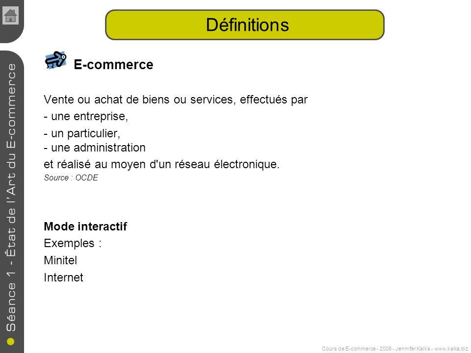 Cours de E-commerce - 2005 - Jennifer Kalka - www.kalka.biz Définitions E-commerce Vente ou achat de biens ou services, effectués par - une entreprise, - un particulier, - une administration et réalisé au moyen d un réseau électronique.