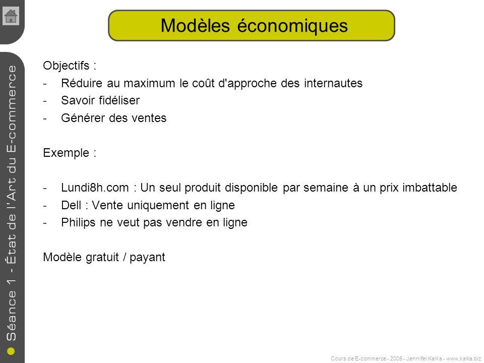 Cours de E-commerce - 2005 - Jennifer Kalka - www.kalka.biz Modèles économiques Objectifs : -Réduire au maximum le coût d'approche des internautes -Sa