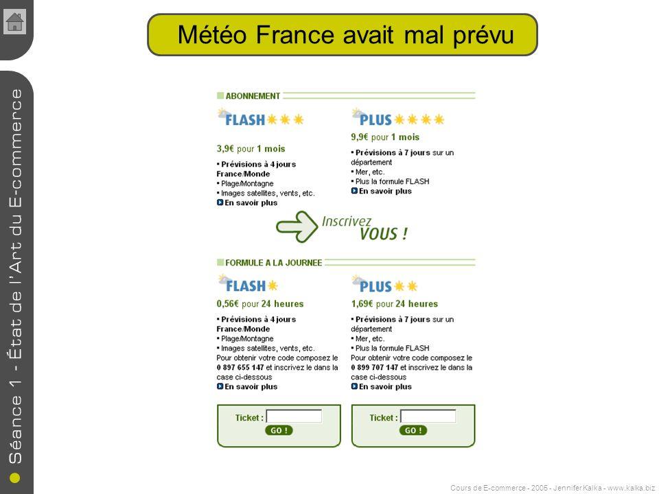Cours de E-commerce - 2005 - Jennifer Kalka - www.kalka.biz Météo France avait mal prévu