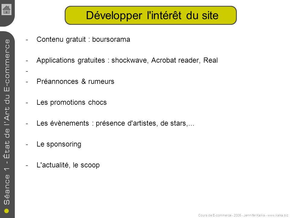 Cours de E-commerce - 2005 - Jennifer Kalka - www.kalka.biz Développer l'intérêt du site -Contenu gratuit : boursorama -Applications gratuites : shock