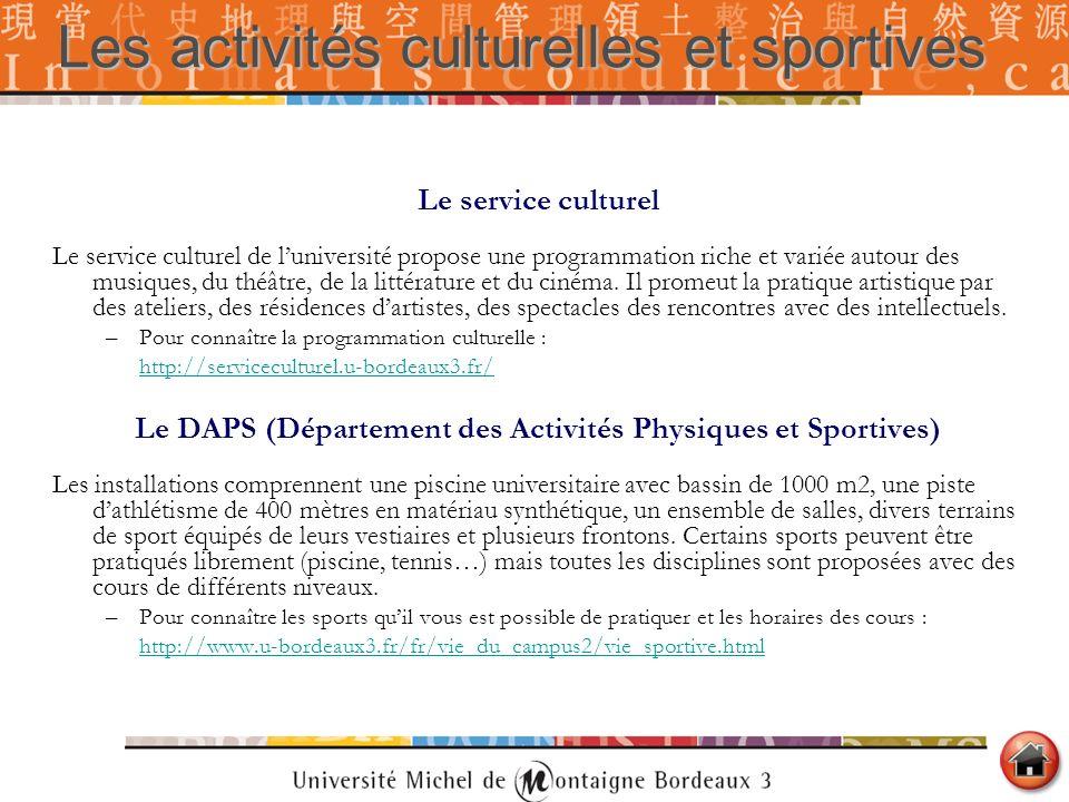 Les activités culturelles et sportives Le service culturel Le service culturel de luniversité propose une programmation riche et variée autour des mus