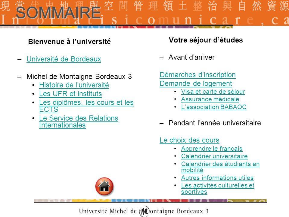 SOMMAIRE Bienvenue à luniversité –Université de BordeauxUniversité de Bordeaux –Michel de Montaigne Bordeaux 3 Histoire de luniversité Les UFR et inst
