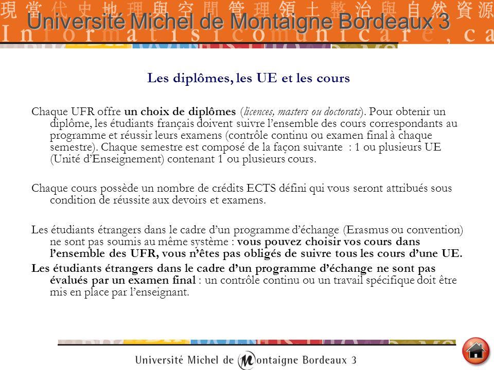 Les diplômes, les UE et les cours Chaque UFR offre un choix de diplômes (licences, masters ou doctorats). Pour obtenir un diplôme, les étudiants franç