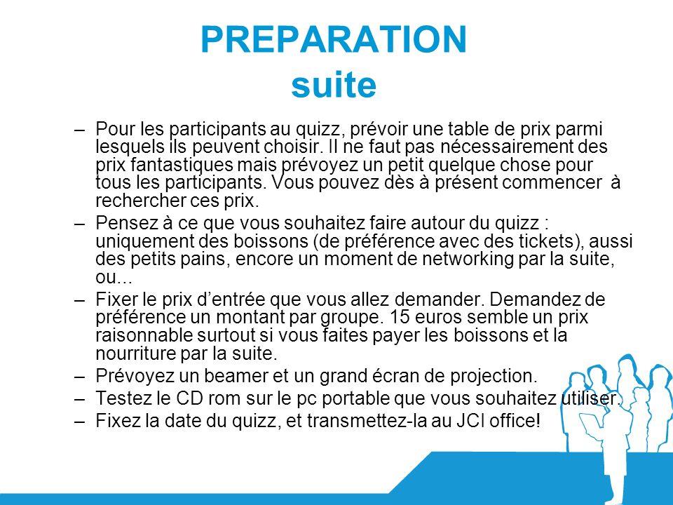 PREPARATION suite –Pour les participants au quizz, prévoir une table de prix parmi lesquels ils peuvent choisir. Il ne faut pas nécessairement des pri