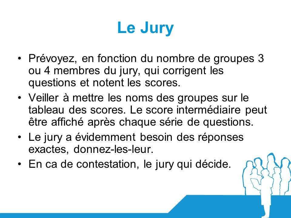 Le Jury Prévoyez, en fonction du nombre de groupes 3 ou 4 membres du jury, qui corrigent les questions et notent les scores. Veiller à mettre les noms