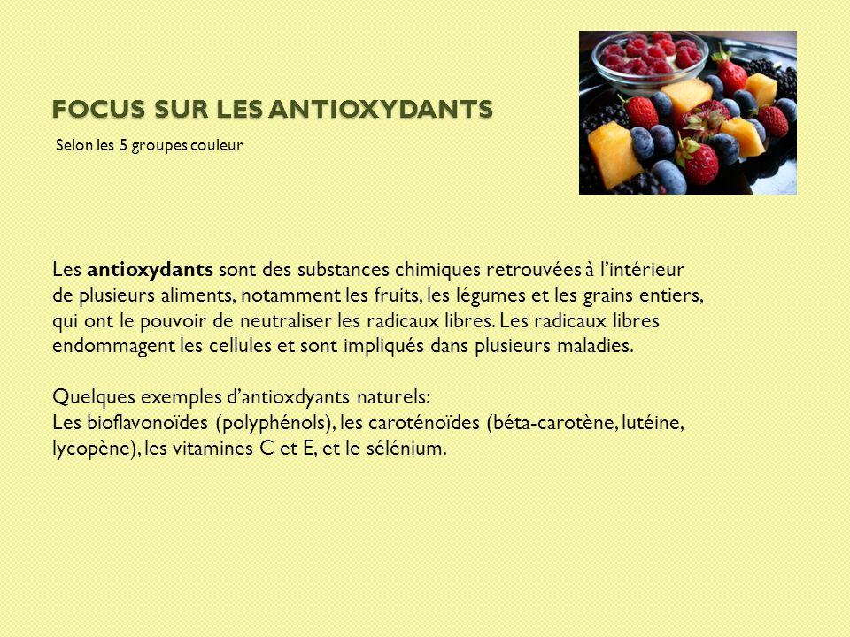 FOCUS SUR LES ANTIOXYDANTS Selon les 5 groupes couleur Les antioxydants sont des substances chimiques retrouvées à lintérieur de plusieurs aliments, n