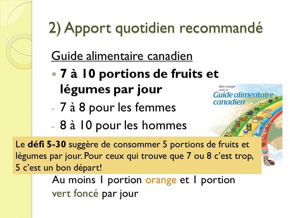 2) Apport quotidien recommandé Guide alimentaire canadien 7 à 10 portions de fruits et légumes par jour - 7 à 8 pour les femmes - 8 à 10 pour les homm