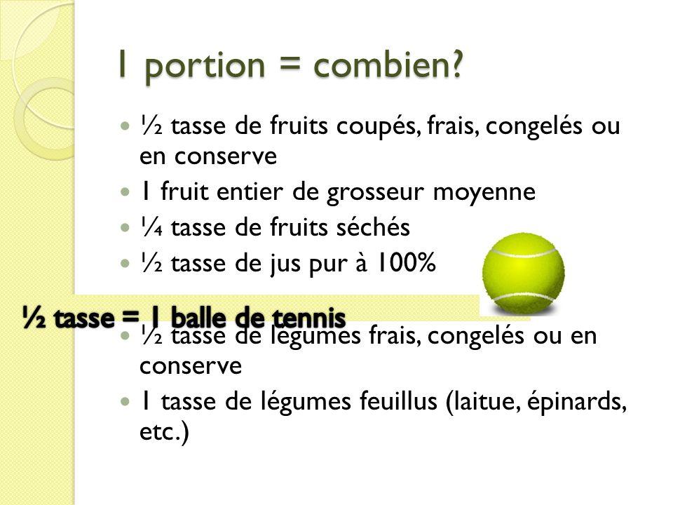 1 portion = combien? ½ tasse de fruits coupés, frais, congelés ou en conserve 1 fruit entier de grosseur moyenne ¼ tasse de fruits séchés ½ tasse de j