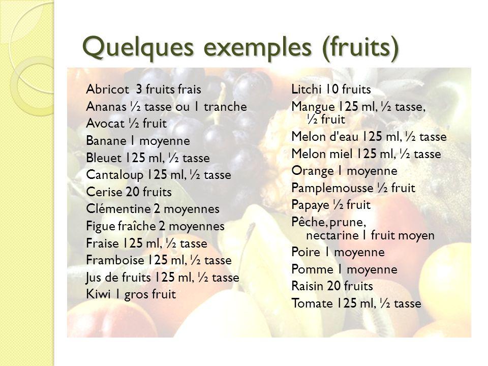Quelques exemples (fruits) Abricot 3 fruits frais Ananas ½ tasse ou 1 tranche Avocat ½ fruit Banane 1 moyenne Bleuet 125 ml, ½ tasse Cantaloup 125 ml,