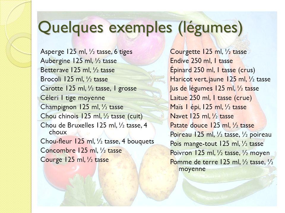 Quelques exemples (légumes) Asperge 125 ml, ½ tasse, 6 tiges Aubergine 125 ml, ½ tasse Betterave 125 ml, ½ tasse Brocoli 125 ml, ½ tasse Carotte 125 m