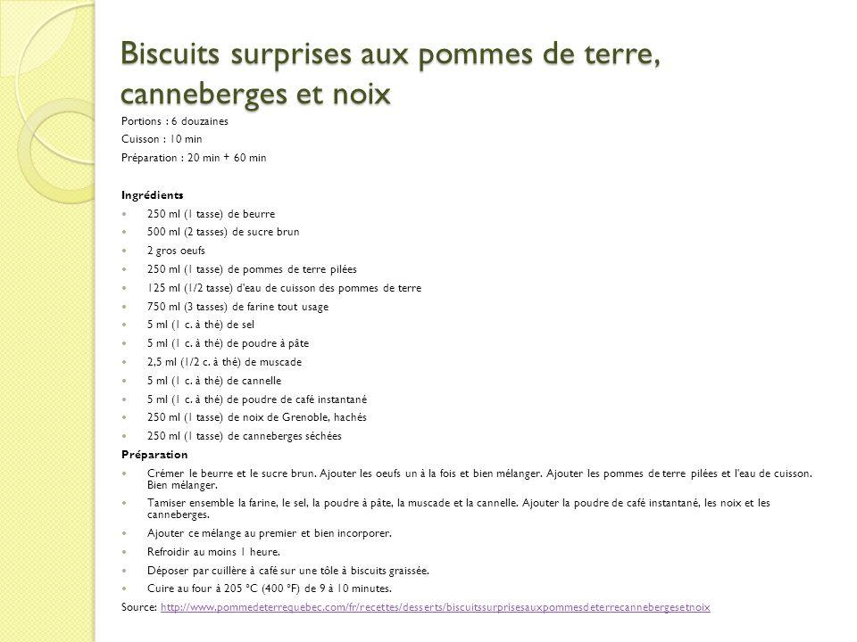 Biscuits surprises aux pommes de terre, canneberges et noix Portions : 6 douzaines Cuisson : 10 min Préparation : 20 min + 60 min Ingrédients 250 ml (
