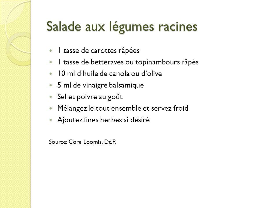 Salade aux légumes racines 1 tasse de carottes râpées 1 tasse de betteraves ou topinambours râpés 10 ml dhuile de canola ou dolive 5 ml de vinaigre ba