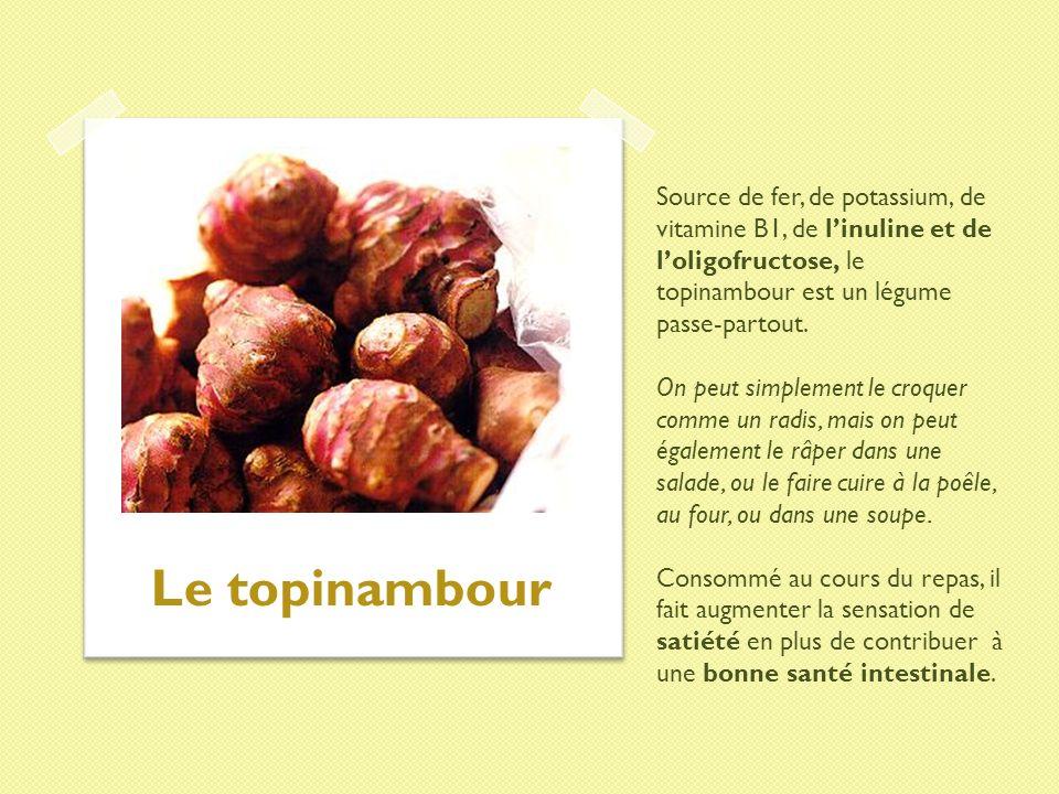 Source de fer, de potassium, de vitamine B1, de linuline et de loligofructose, le topinambour est un légume passe-partout. On peut simplement le croqu