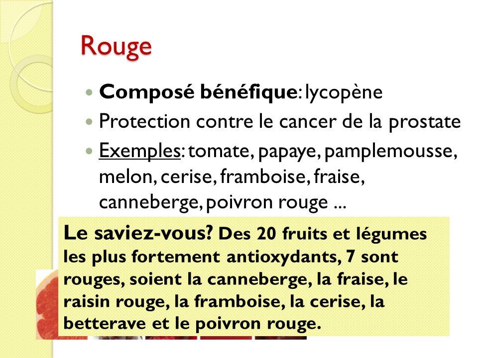 Rouge Composé bénéfique: lycopène Protection contre le cancer de la prostate Exemples: tomate, papaye, pamplemousse, melon, cerise, framboise, fraise,