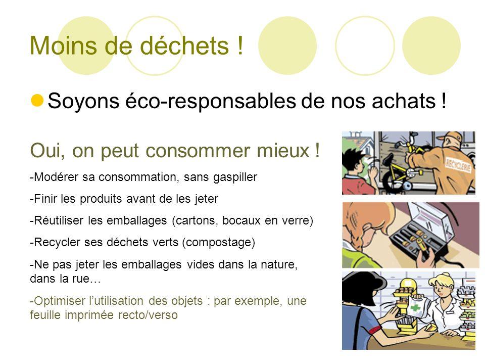Moins de déchets ! Soyons éco-responsables de nos achats ! Oui, on peut consommer mieux ! -Modérer sa consommation, sans gaspiller -Finir les produits
