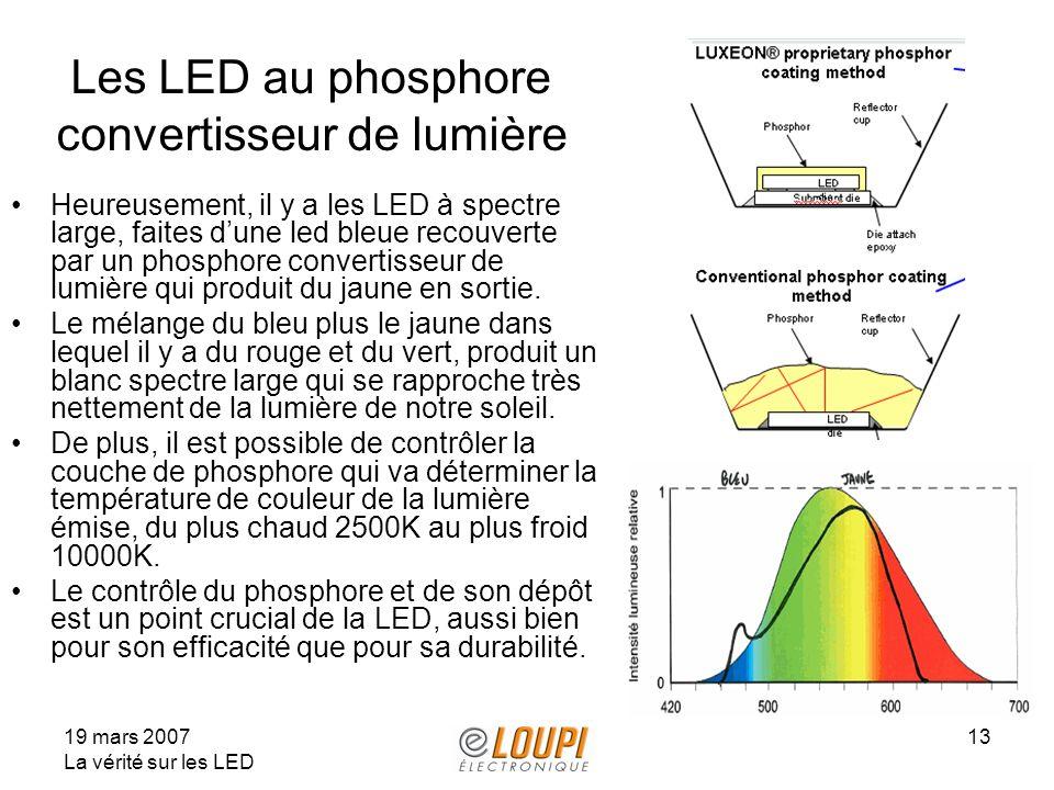 19 mars 2007 La vérité sur les LED 13 Les LED au phosphore convertisseur de lumière Heureusement, il y a les LED à spectre large, faites dune led bleue recouverte par un phosphore convertisseur de lumière qui produit du jaune en sortie.